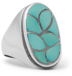 Foundwell - 1980s Silver and Turquoise Ring