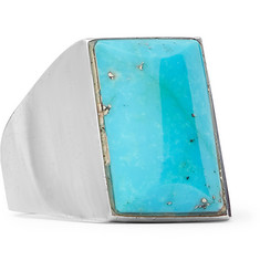 Foundwell - 1990s Silver and Turquoise Ring