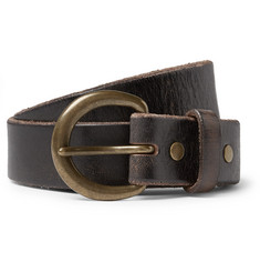 RRL 3cm Dark-Brown Terrance Leather Belt
