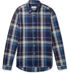 Oliver Spencer New York Special Checked Indigo-Dyed Cotton-Twill Shirt