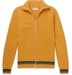 Oliver Spencer Stripe-Trimmed Wool Zip-Up Cardigan