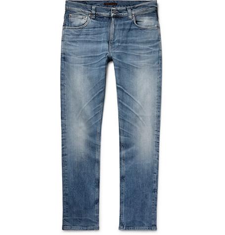 NUDIE JEANS | Nudie Jeans - Lean Dean Slim-fit Tapered Distressed Organic Stretch-denim Jeans - Indigo | Goxip