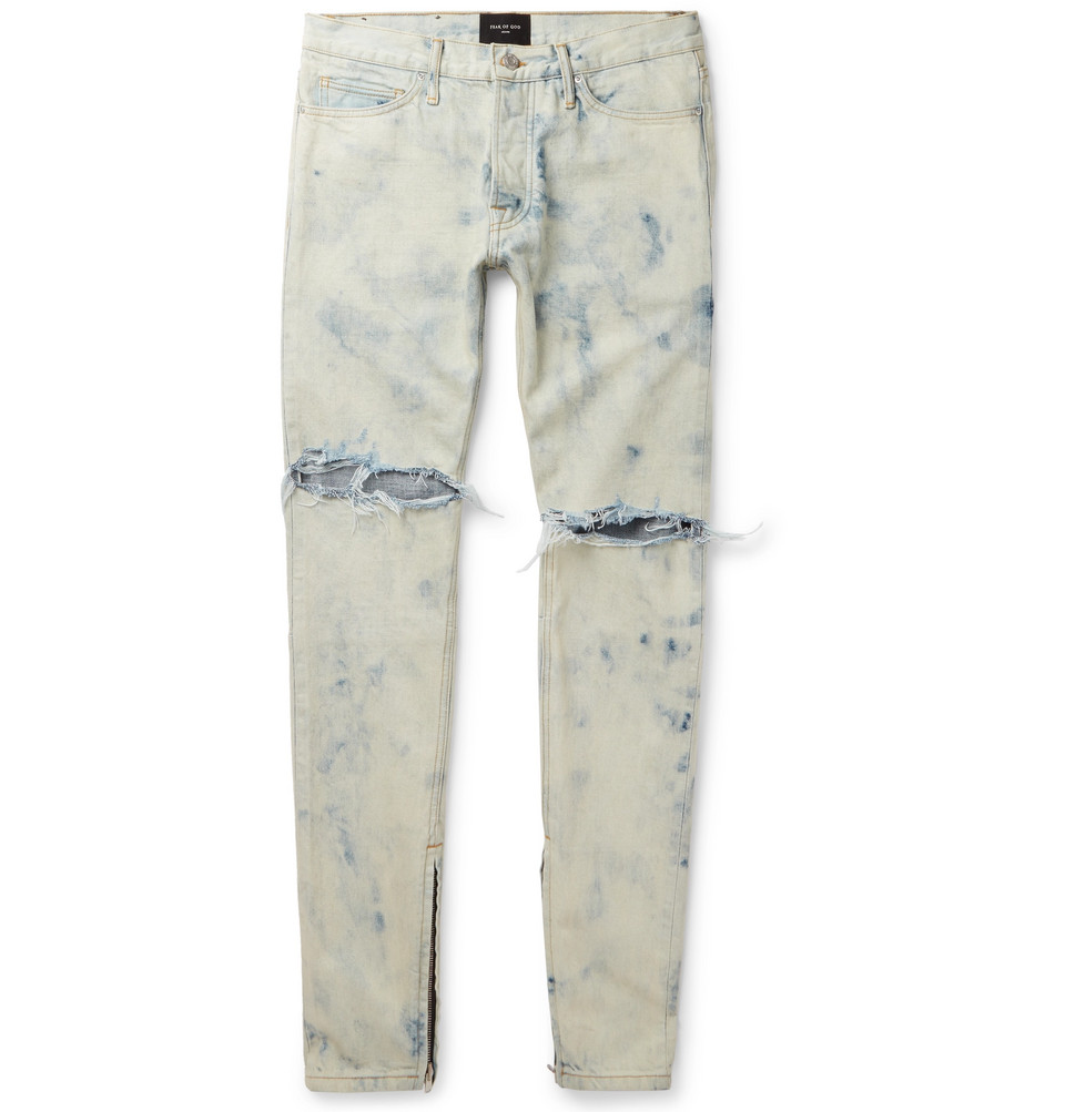 Holy Water Skinny-fit Distressed Selvedge Denim Jeans - Light blue