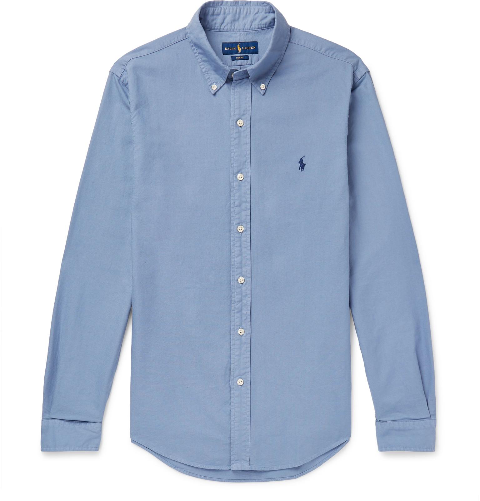 5a1dc58825e Polo Ralph LaurenSlim-Fit Button-Down Collar Garment-Dyed Cotton Oxford  Shirt