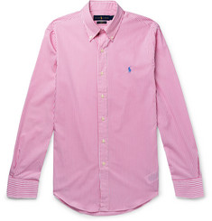 Polo Ralph Lauren Slim-Fit Button-Down Collar Striped Cotton-Poplin Shirt