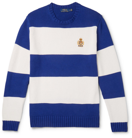 15fae816b Polo Ralph Lauren - Logo-Embroidered Striped Cotton Sweater