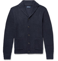 폴로 랄프로렌 Polo Ralph Lauren Shawl-Collar Ribbed Cotton Cardigan,Storm blue