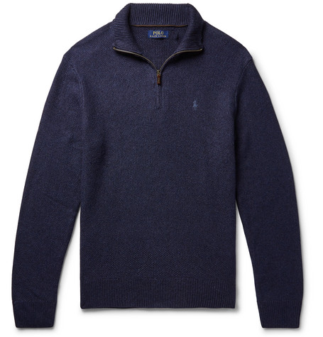 Mélange Tussah Silk Half Zip Sweater by Polo Ralph Lauren