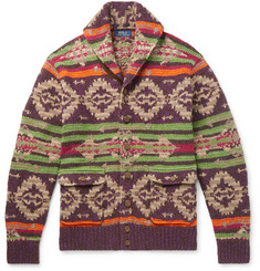 Polo Ralph Lauren Shawl-Collar Suede-Trimmed Fair Isle Knitted Cardigan