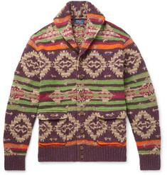 폴로 랄프로렌 가디건 Polo Ralph Lauren Shawl-Collar Suede-Trimmed Fair Isle Knitted Cardigan,Multi