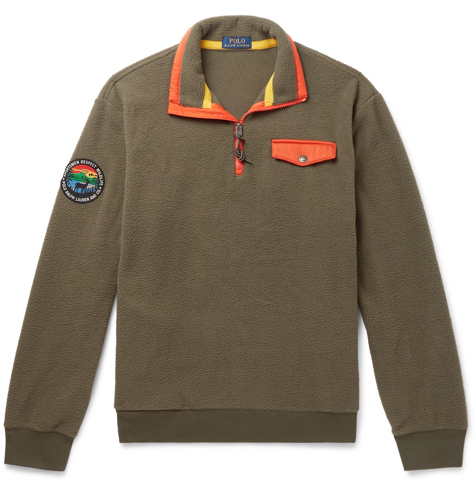 53d2d141e Polo Ralph Lauren - Contrast-Trimmed Fleece Half-Zip Sweatshirt