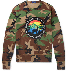Polo Ralph Lauren Logo-Appliquéd Camouflage-Print Fleece-Back Cotton-Blend Jersey Sweatshirt