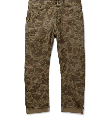 POLO RALPH LAUREN | Polo Ralph Lauren - Cropped Reflective-trimmed Camouflage-print Cotton-blend Twill Trousers - Green | Goxip