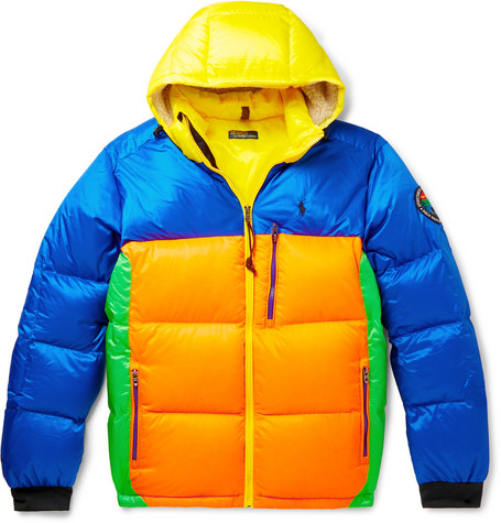 Logo Appliquéd Colour Block Quilted Shell Hooded Down Jacket by Polo Ralph Lauren