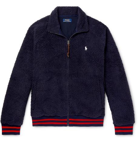 Polo Ralph Lauren – Stripe-trimmed Fleece Jacket – Navy