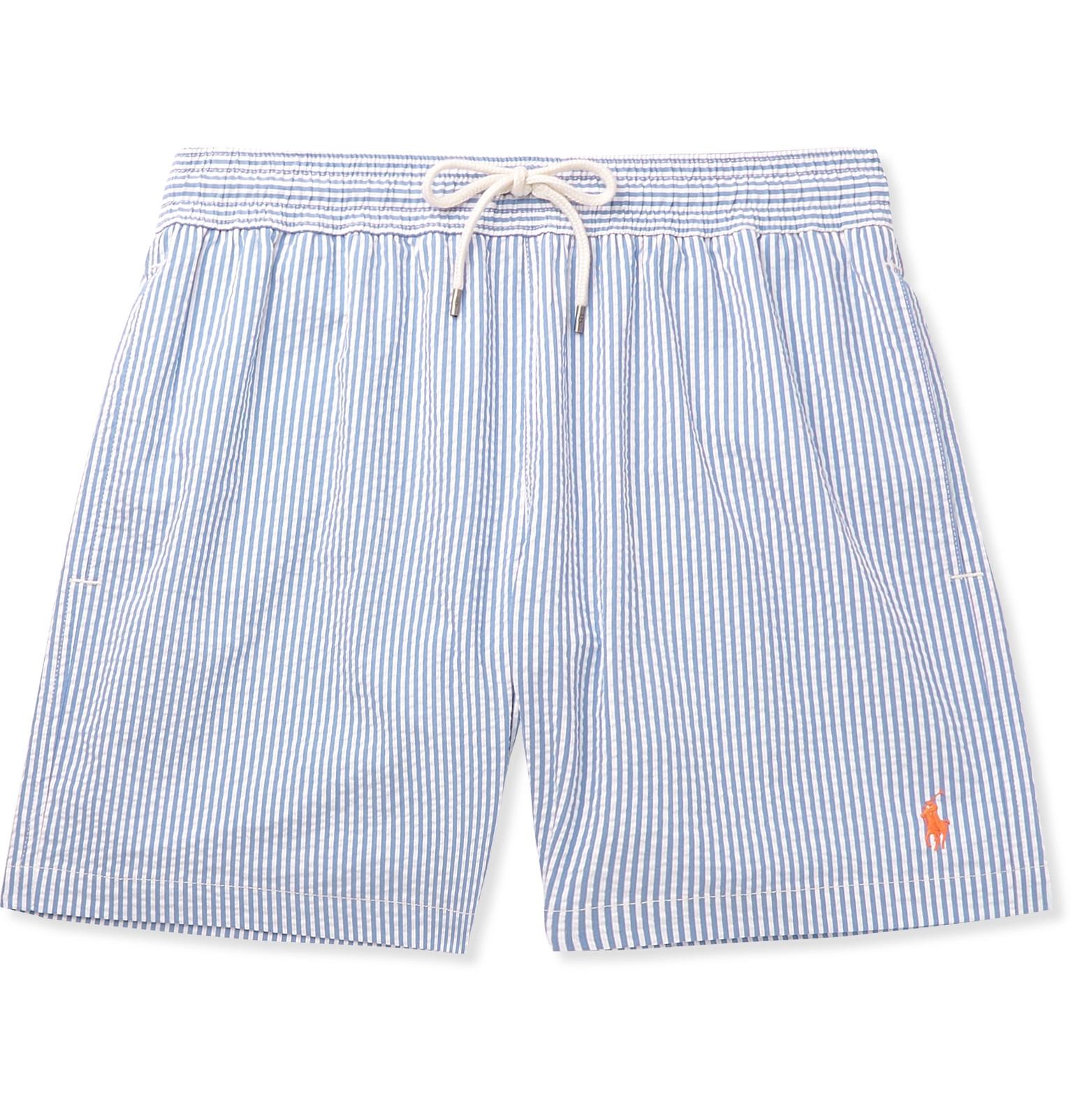 47ea00e764 Polo Ralph LaurenMid-Length Striped Cotton-Blend Seersucker Swim Shorts