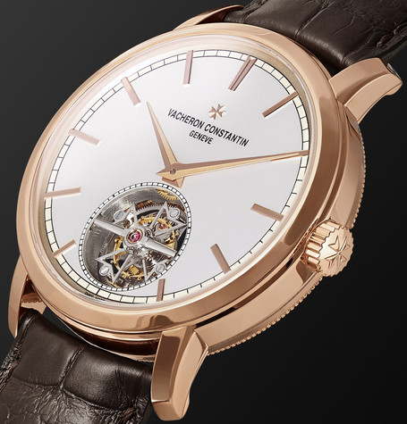 Traditionnelle Automatic Tourbillon 41mm 18 Karat Pink Gold And Alligator Watch by Vacheron Constantin