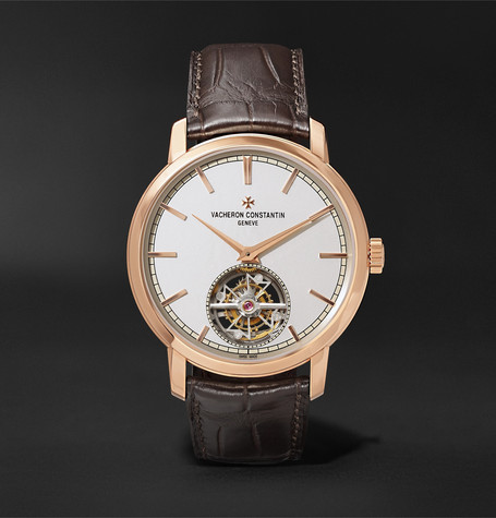 Vacheron Constantin Traditionnelle Tourbillon Automatic 41mm 18-Karat Pink Gold and Alligator Watch, Ref. No. 6000T/000R