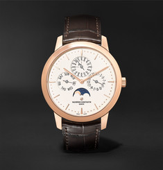 Vacheron Constantin Traditionnelle Perpetual Calendar Automatic 41mm 18-Karat Pink Gold and Alligator Watch, Ref. No. 43