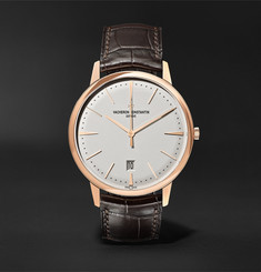 Vacheron Constantin Patrimony Automatic 40mm 18-Karat Pink Gold and Alligator Watch, Ref. No. 85180/000R-9248