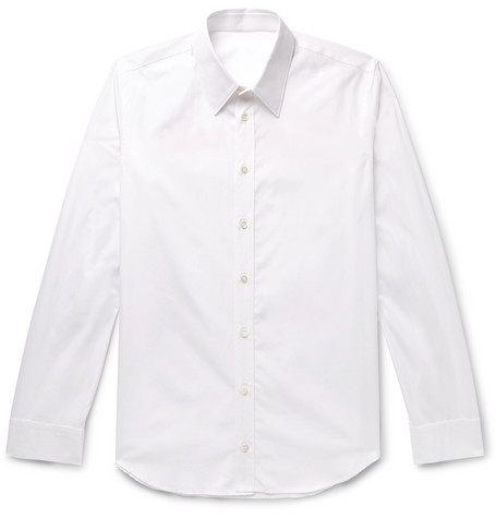 Slim Fit Logo Print Cotton Poplin Shirt by Helmut Lang