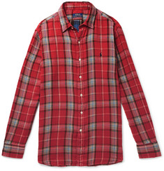 폴로 랄프로렌 셔츠 Polo Ralph Lauren Double-Faced Checked Cotton-Flannel Shirt,Red