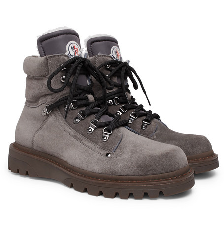 Moncler – Egide Shearling-lined Suede Walking Boots – Dark gray