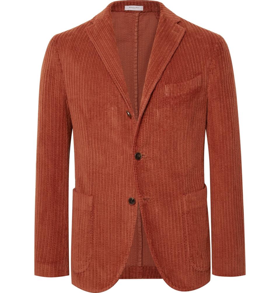 Orange Slim-fit K-jacket Cotton-corduroy Blazer - Orange