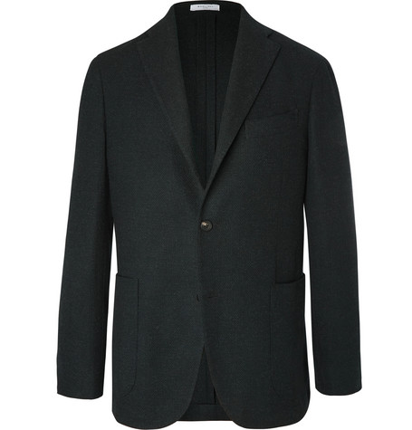 Black Unstructured Wool, Cotton And Cashmere Blend Hopsack Blazer by Boglioli