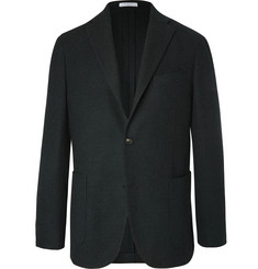Boglioli - Black Unstructured Wool, Cotton and Cashmere-Blend Hopsack Blazer
