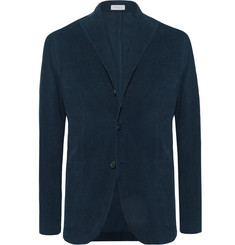 Boglioli - Midnight-Blue Slim-Fit Unstructured Stretch-Cotton Corduroy Suit Jacket