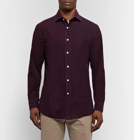 Slim Fit Garment Dyed Cotton Corduroy Shirt by Boglioli