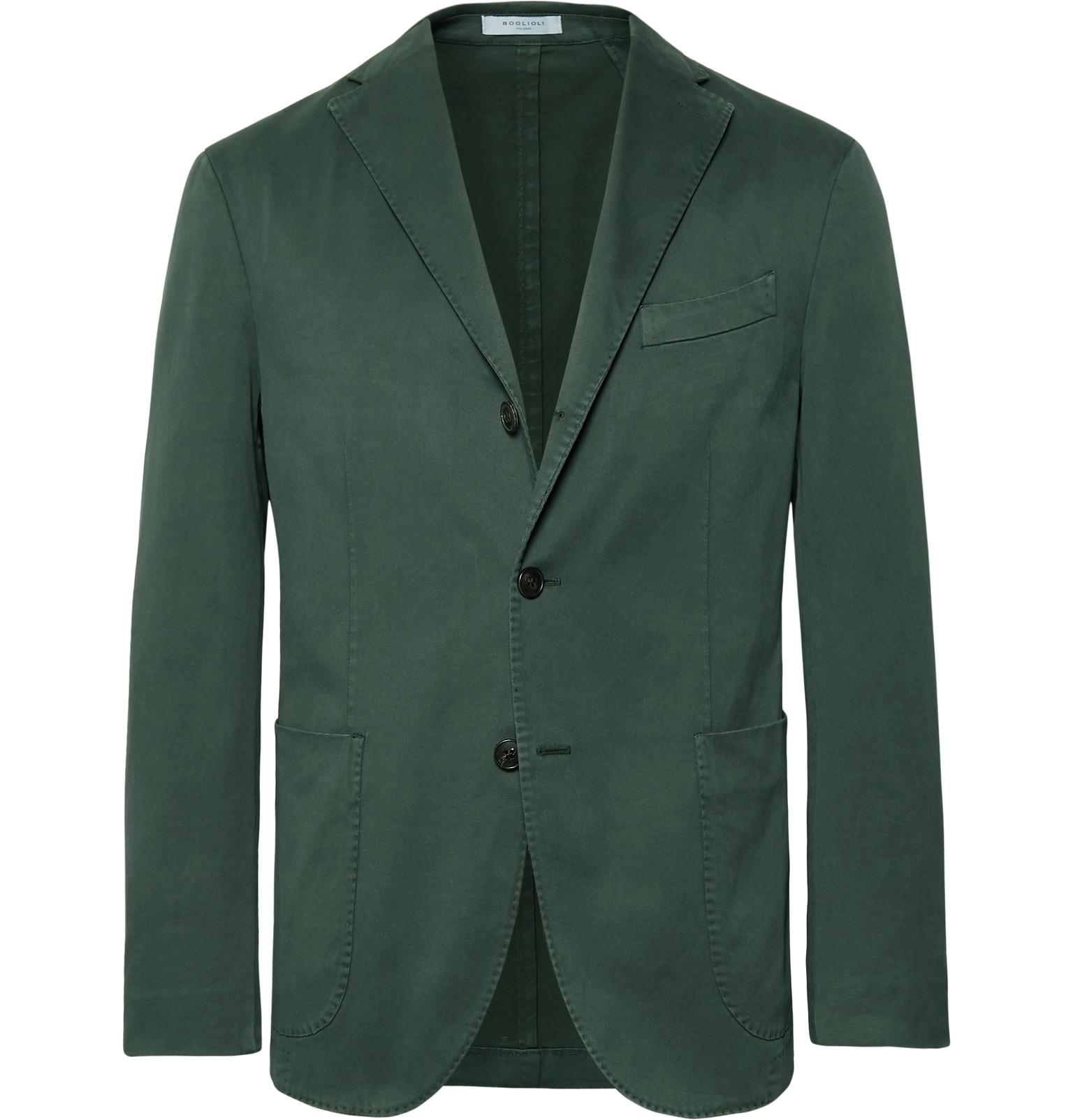 Boglioli Dark Green Slim Fit Unstructured Stretch Cotton Drill