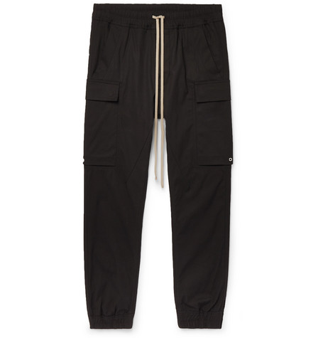 RICK OWENS | Rick Owens - Black Slim-fit Tapered Cotton-blend Cargo Trousers - Black | Goxip