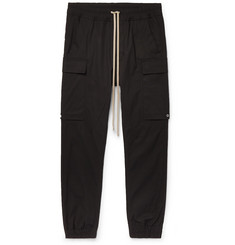 Rick Owens Black Slim-Fit Tapered Stretch-Cotton Drawstring Cargo Trousers