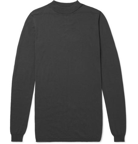 RICK OWENS | Rick Owens - Mock-neck Virgin Wool Sweater - Dark gray | Goxip