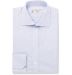 Turnbull & Asser Light-Blue Slim-Fit Pinstriped Cotton-Poplin Shirt
