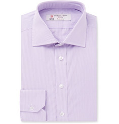 Turnbull & Asser Purple Slim-Fit Cutaway-Collar Micro-Check Cotton-Poplin Shirt
