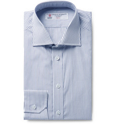 Turnbull & Asser Storm-Blue Checked Cotton-Poplin Shirt