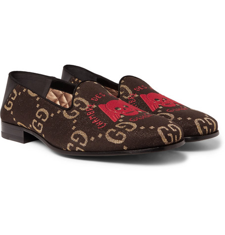 Gallipoli Collapsible-heel Leather-trimmed Embroidered Metallic Jacquard Loafers - Black