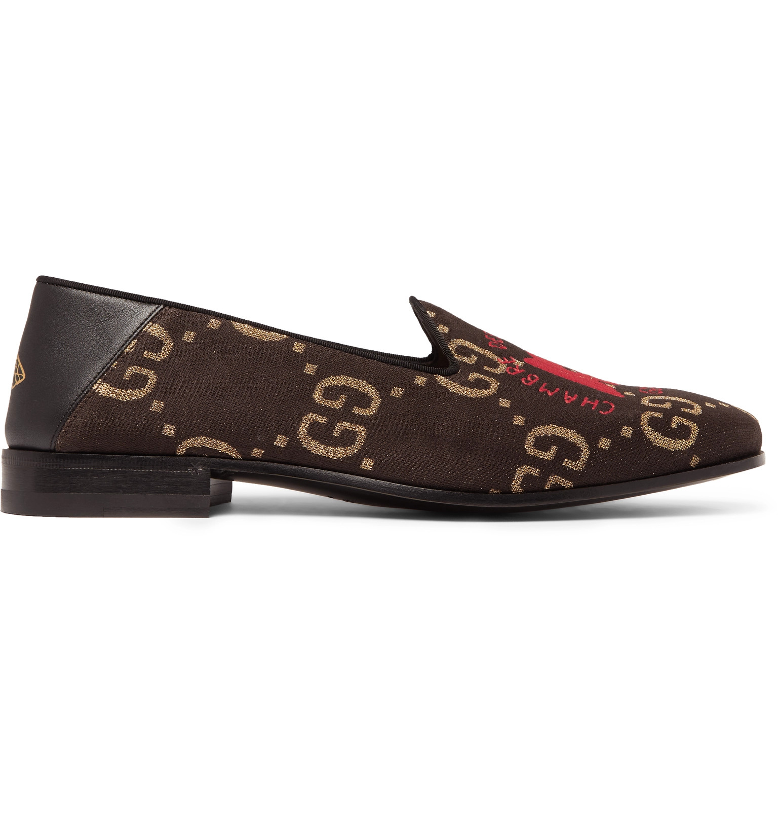 bd5a79caef2 GucciGallipoli Collapsible-Heel Leather-Trimmed Embroidered Metallic  Jacquard Loafers