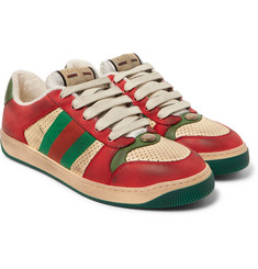 Gucci - Virtus Distressed Leather and Webbing Sneakers