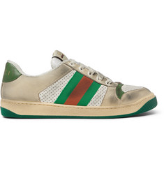 Gucci Virtus Distressed Leather and Webbing Sneakers 4a762afce