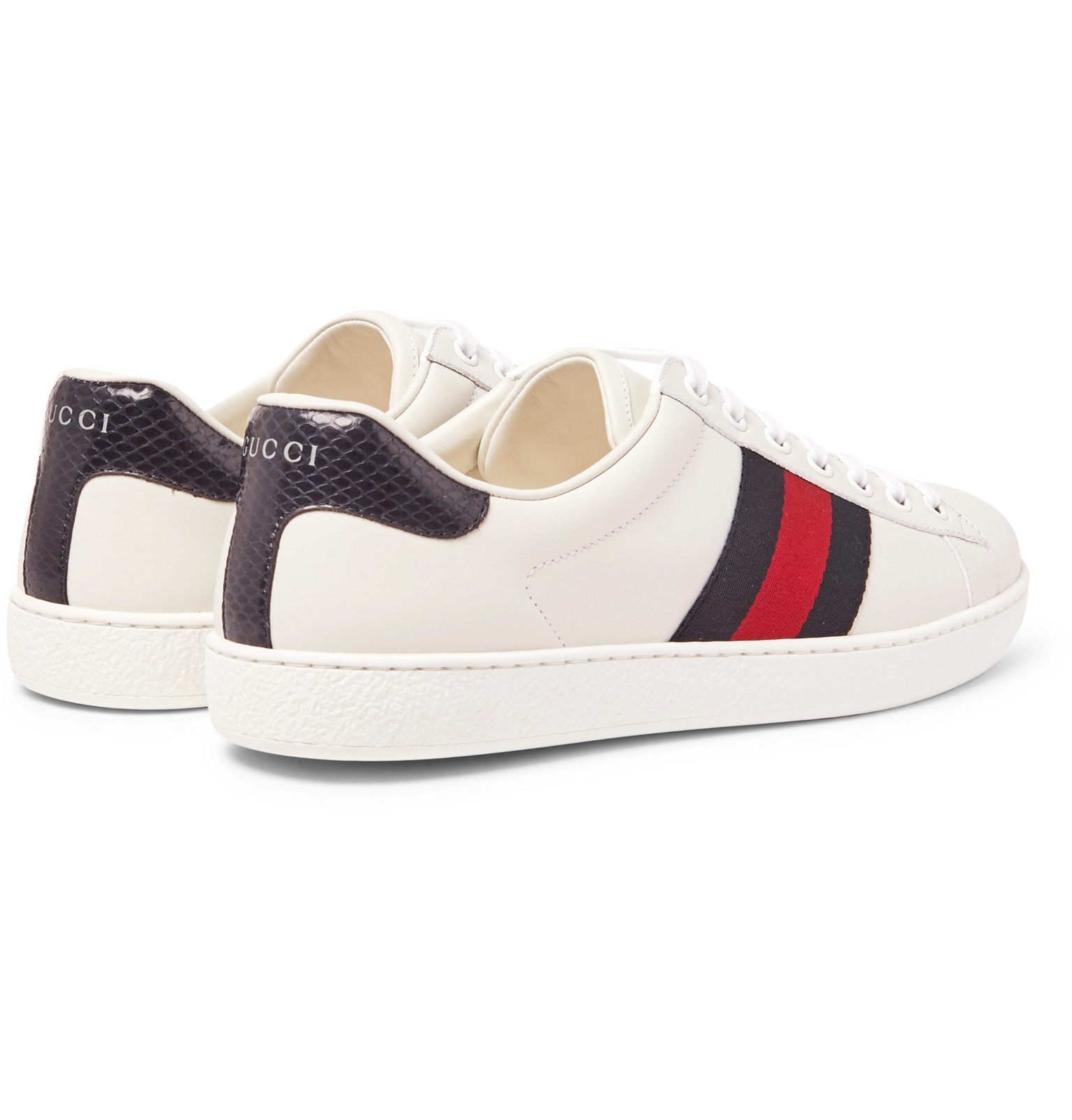 a4c719355ac Gucci - Ace Watersnake-Trimmed Leather Sneakers