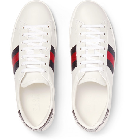 Gucci Sneakers Ace Watersnake-Trimmed Leather Sneakers