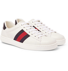 Gucci - Ace Watersnake-Trimmed Leather Sneakers
