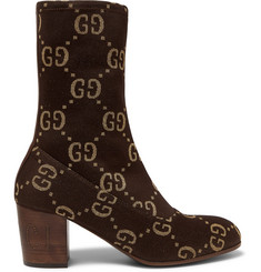 Gucci - Leather-Trimmed Logo-Jacquard Boots
