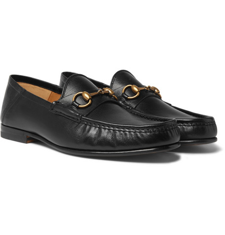 Easy Roos Horsebit Collapsible-heel Leather Loafers - Black
