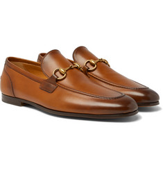Gucci - Jordaan Horsebit Burnished-Leather Loafers