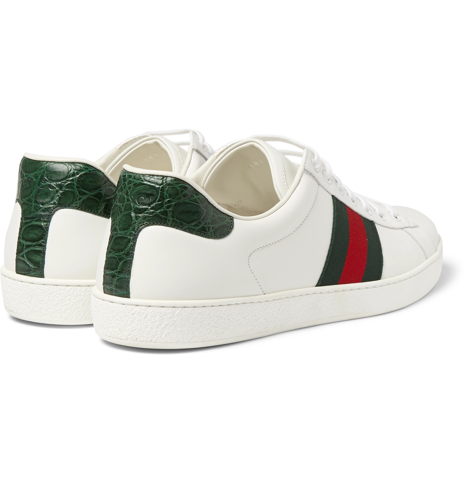 7a3642114 Gucci - Ace Crocodile-Trimmed Leather Sneakers
